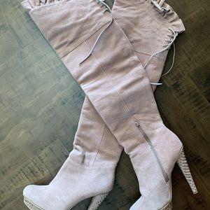 Thigh high lavender boots